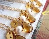 custom initial stone necklaces