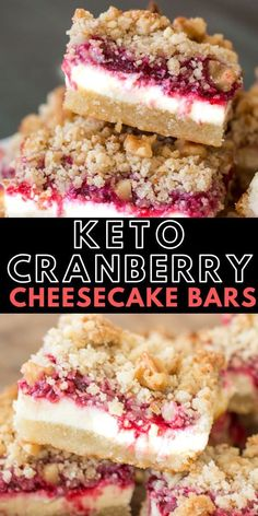 These delicious Keto Cranberry Cheesecake Bars have rich layers including an almond flour shortbread cookie crust, vanilla cheesecake, low carb cranberry sauce and a pecan crumble. At 5 net carbs each this is a decadent keto treat! Desserts Keto, Desserts Sains, Keto Friendly Desserts, Keto Snacks, Dessert Recipes, Dinner Recipes, Diabetic Snacks, Plated Desserts, Cake Recipes
