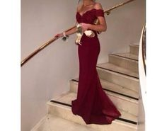 red winey romantic long dress