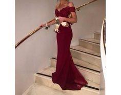 red winey romantic long dress