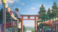 Discover a collection of 100 Original Background for animated movie Your Name (Kimi no na wa). Two strangers find themselves linked in a bizarre way. Film Your Name, Your Name Anime, Animation Background, Art Background, Aesthetic Gif, Aesthetic Backgrounds, Your Name Wallpaper, Manga Anime, Anime Places