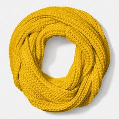 Coach Solid Chunky Infinity Scarf (6.305 RUB) ❤ liked on Polyvore featuring accessories, scarves, yellow, cable knit infinity scarf, lightweight infinity scarves, circle scarf, yellow scarves and chunky infinity scarves