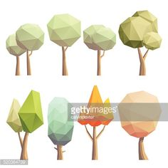 Warm and pastel colored vector illustration of a low poly tree with a soft shadow. EPS 10 with transparency and texture effect. The tree, the texture and the shadow are in separate layers for easier...