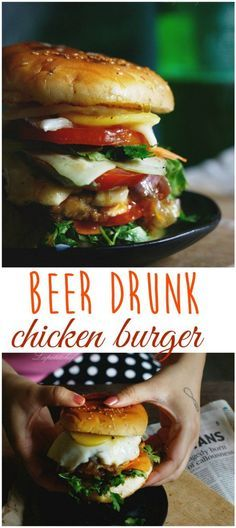 Beer drunk chicken burger is basically a burger on steroids! Here, the standard chicken burgers have been given a beer-y makeover and loaded with goodies. Beer Recipes, Grilling Recipes, Chicken Recipes, Cooking Recipes, Burger World, Tandoori Masala, Cooking With Beer, Bbq, Delicious Burgers