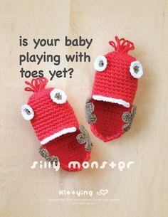 Crochet Pattern - Silly Monster Baby Booties Preemie Socks Newborn Shoes Crochet…