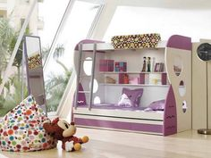 girls bunk beds with slide | Purple Kids Bunk Beds with Stairs and Slide for Small Kids Bedroom ...