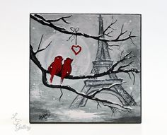 Lovebirds Art Valentine Painting Love Birds in Paris Art Block Eiffel Tower Painting Birds on a Branch Painting  Snow Painting  Winter Decor
