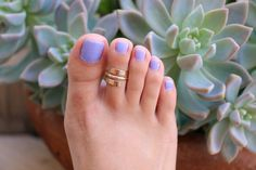 Pipeline Wrap-Around Toe Ring / Spiral & Semi-Adjustable / Sterling Silver or Gold Fill / Toe Ring for Men and Women Pretty Toe Nails, Cute Toe Nails, Cute Toes, Pretty Toes, Fun Nails, Purple Toe Nails, Beach Pedicure, Pedicure Nail Art, Pedicure Designs