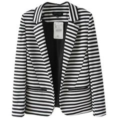 Monochrome Stripe Print Blazer with Lapel Collar (1.655 UYU) ❤ liked on Polyvore featuring outerwear, jackets, blazers, chicnova, blazer, long sleeve jacket, lapel jacket, blazer jacket, collar blazer and lapel blazer