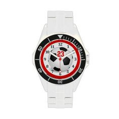 Jersey NUMBER Soccer Watches for Men and Teenagers Guys and Boys or choose a Women's or Girls style watch.  Type in YOUR JERSEY NUMBER in TEXT BOX.   http://www.zazzle.com/my/products/public/cg-196770565308814581/sr-250551723784833746?rf=238147997806552929  ALL of Little Linda Pinda Designs CLICK this LINK - http://www.Zazzle.com/LittleLindaPinda*/