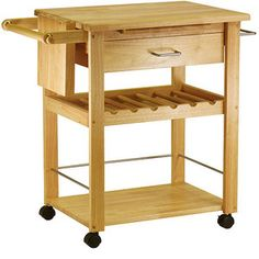 Deluxe Utility Cart with Wine Storage