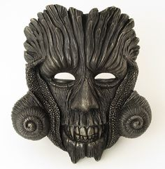 Black Green Man Mask Black Woodland Mask Creepy Mask by BirdMaker