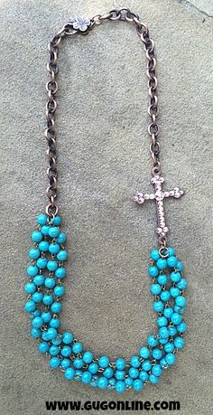AB Stones on Copper Cross on Turquoise Bead Necklace $34.95 www.gugonline.com