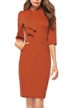 Berydress Women's Vintage Chic Tie Neck Half Sleeve Sheath Bodycon Cocktail Party Pencil Dress With Pockets – Quality products Dressy Dresses, Dresses For Work, Women's Fashion Dresses, Dress Outfits, Vintage Pencil Dress, Vintage Chic, Fashion Tips For Women, Womens Fashion, Fashion Trends