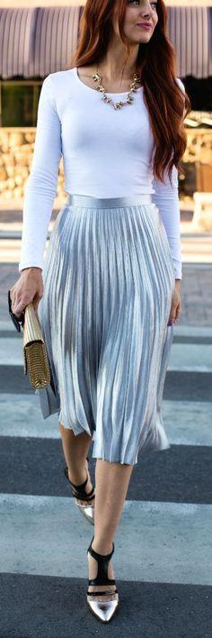 Street styles | Bright Silver Accordion Pleat High Rise Mildi Skirt