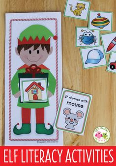 Elf rhyming game for your literacy centers, ELA learning stations, or tubs in preschool, pre-k, or kindergarten. Kids enjoy finding rhyming words, beginning sounds, or alphabet matches with this fun elf literacy activity. elf lesson plans, classroom elf, magic elf, elf activities