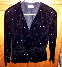 High End Vintage Lined Velvet w Pearl Trim Dressy Jacket SZ 10 Patra Blazer