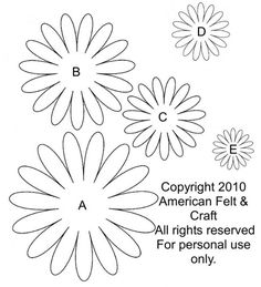 Gerbera daisy template and tutorial. Felt Gerbera Daisies – Lazy Daisies of Summer Felt Flower Template, Felt Templates, Flower Svg, Leaf Template, Flower Crafts, Crown Template, Applique Templates, Applique Patterns, Card Templates