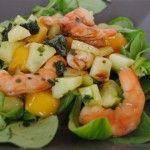 Photo de la recette : Salade de mache à la crevette et à la mangue