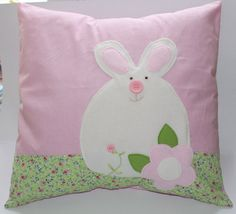 Pillow cover cushion cover pink with bunny by Enchantingcrafts, £15.00