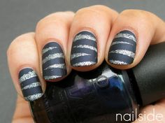 Matte nails with glitter stripes