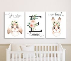 This Bunny Nursery Wall Art Canvases, Baby Girl Personalized Nursery Canvas, Blush Flowers and DarkGray Monogram Nursery Canvas Set of 3 is just one of the custom, handmade pieces you'll find in our signs shops. Baby Canvas, Nursery Canvas, Nursery Wall Art, Canvas Wall Art, Nursery Name Decor, Bunny Room, Bunny Nursery, Girl Nursery, Baby Room Paintings