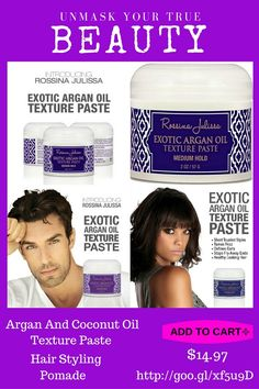Our best-selling Argan & Coconut Oil Texture Paste For Hair Styling keeps your hairstyle in place throughout the day. You will not be left with flakes, residue, or that greasy feeling. Immediately feel a difference in the manageability, shine, smooth, feeling soft, healthy and frizz free. Our Product is great for all Hair Types.  Amazing Offer! http://www.amazon.com/gp/product/B00LYRDJL0