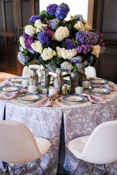 Table Settings. Blue, lavender, pale pink and cream tablescape by Blue Print Studio. Fabric designed by Megan Adams Brooks.