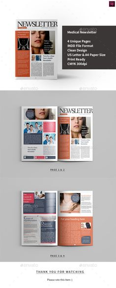FREE Newsletter template (Stock InDesign) Design Pinterest - Medical Newsletter Templates Free