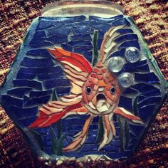 In a Fishbowl - Glass on Glass mosaic - can be used as a candle holder or vase