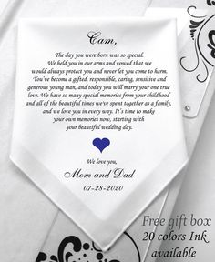 Wedding Wishes Gift From Mom And Dad, Wedding Presents Wedding Hankerchief From Parents Of The Groom, Wishes hankie For Sons Wedding- 1253 Wedding Wishes, Wedding Cards, Wedding Stuff, Wedding Gifts, Wedding Day, Son Quotes From Mom, Mother Quotes, Mother Of The Groom Gifts, Mother Gifts