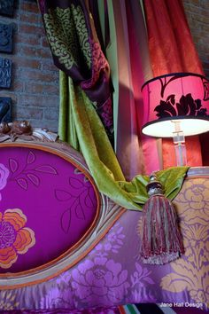 Custom Made Upholstered Vintage Chairs Lampshades, Drapes And Cushions For Interior Design Project Do It Yourself Inspiration, Home Decor Inspiration, Color Inspiration, Gypsy Decor, Bohemian Decor, Bohemian Gypsy, Bohemian Interior, Bohemian Design, Living Colors