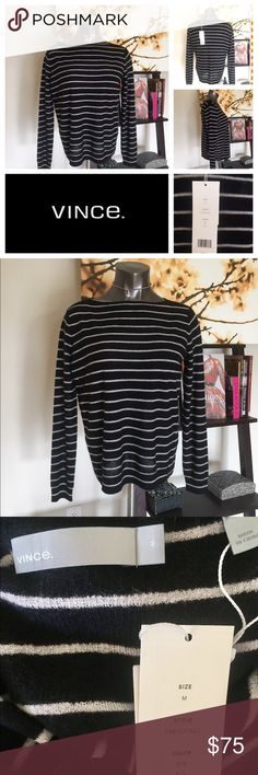 Vince Cashmere Black/White Striped Crew Sweater ‼️‼️NEW WITH TAGS‼️NEVER WORN‼️‼️ Vince luxurious fabrics and simple staples are always great basic pieces to mix and match into any wardrobe. 100% Cashmere so soft you'd want to live in this black/white striped sweater. Perfect layering piece for the wintery months ahead 🌨☃️🌨 Vince Sweaters Crew & Scoop Necks