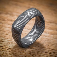 Damascus Stainless Steel Square Men's Wedding Band by spexton, $689.00 Men Accesories, Accessories, Wedding Stuff, Wedding Bands, Damascus Ring, Stainless Steel Rings, Watches, Band Rings, Metal Working