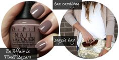 Fall fashion- Taupey nails with a tan cardigan and sequin clutch- OPI An Affair in Times Square