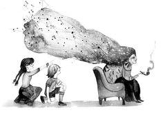 """Ilustración de Adolfo Serra para """"La linterna mágica"""", de Sandra Siemens. Edelvives publica este libro en la colección Ala Delta Serie Azul para niños mayores de 8 años."""