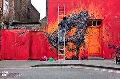 """Chinese street artist DALeast states on his profile that he is """"currently a human being"""", which seems a bit of an understatement seeing how he creates all these ambitious spraypainted mural works wherever he goes. He's been out and about in London in the last few weeks, doing some eye-popping 3D-like damage in places like [...]"""