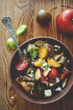 Heirloom tomato and roasted eggplant salad, with feta and crispy pitta – via The Kitchy Kitchen