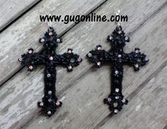 AB Crystals on Black Cross Earrings www.gugonline.com $29.95