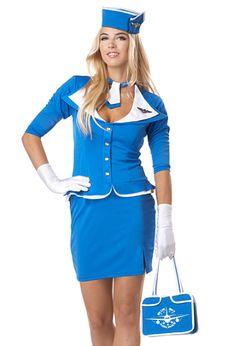 Pan Am Stewardess Costume - 5 PC. Retro Flight Attendant Halloween Costume $46.95 Need this in XL