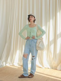 Cutout Knee Distressed JeansThe delivery starts from May. along with your purchase order! Teen Pics, Teen Pictures, Stylenanda Fashion, Dress Over Jeans, Jeans Price, Raw Denim, Asian Style, Fashion Outfits, Womens Fashion
