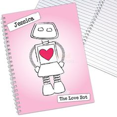 Personalised Love Bot Notebook  from Personalised Gifts Shop - ONLY £6.95