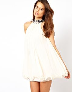 Babydoll Dress with Embellished Neck