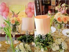 Vera's Peach and Green themed party - Centerpiece Party Centerpieces, Table Decorations, Peach And Green, 1st Birthday Parties, Party Themes, Bridal Shower, Shabby Chic, Fun, Wedding