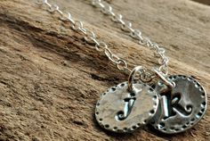Hand Stamped Mothers Necklace. Silver Letter Charm Necklace..