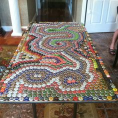 Beer pong table made out of bottle caps! :D- for stevens bottle caps?