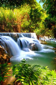 ✯ Kouangxi Waterfall, Luang Prabang, Laos-home. Beautiful World, Beautiful Places, Beautiful Pictures, Beautiful Waterfalls, Beautiful Landscapes, Places Around The World, Around The Worlds, Laos Travel, Waterfall Photo