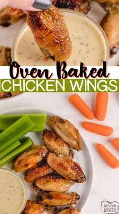 Oven Baked Chicken Wings are perfect for an appetizer, side dish or even the main course. These baked chicken wings are marinated overnight so they are tender, juicy and packed with flavor! Top Recipes, Beef Recipes, Chicken Recipes, Easy Recipes, Easy Appetizer Recipes, Easy Dinner Recipes, Healthy Appetizers, Delicious Recipes, Baked Chicken Wings