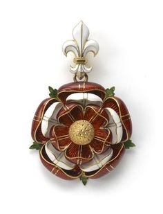 A Gold & Enamel Pendant by Robert Phillips in the form of the Tudor Rose, executed in red and white enamel, highlighted with stylised green enamel leaves which radiate from the back, the whole suspended from a white enamel Fleur de lys.