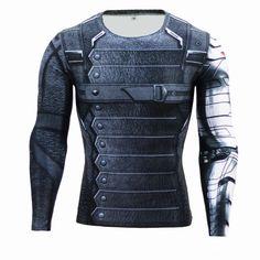 Fitness Compression Shirt for Men Superman Bodybuilding Long Sleeve 3D T Shirt Crossfit Tops Shirts